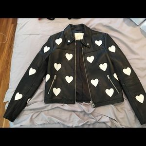 Maje heart leather jacket